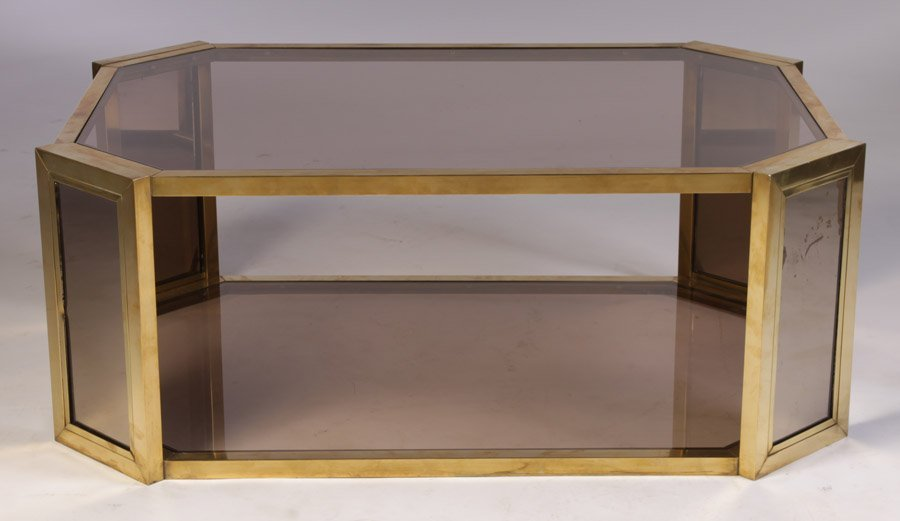 10: 8-SIDED BRONZE GLASS SMOKED GLASS COFFEE TABLE