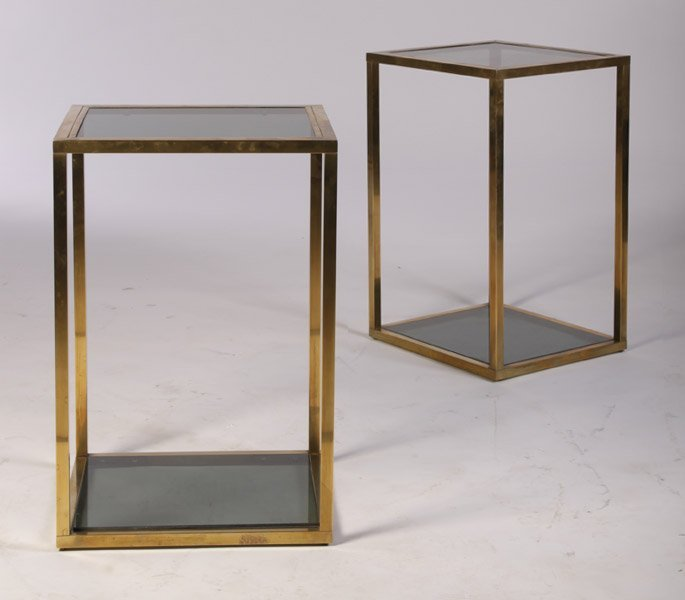 15: PR BRONZE SMOKED GLASS END TABLES C.1970