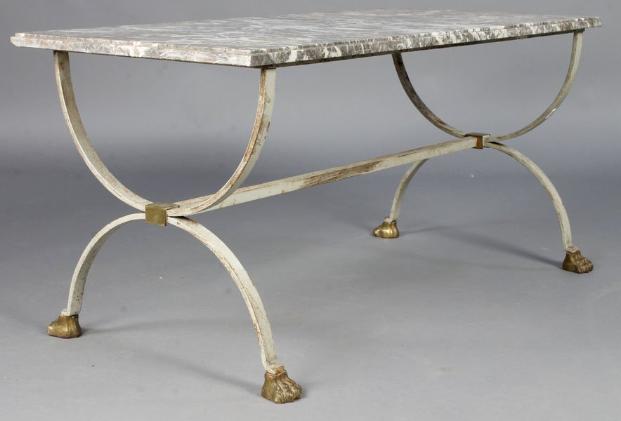18: FRENCH PAINTED MARBLE TOP COFFEE TABLE
