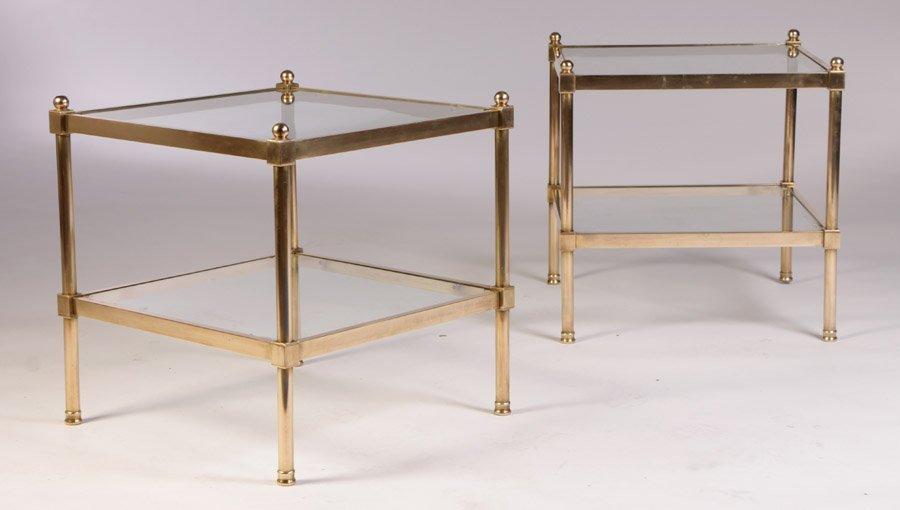 19: PR MID CENTURY MODERN BRASS GLASS END TABLES