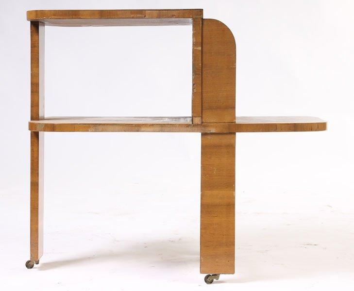 168: 2 TIER ART DECO BURL WALNUT OCCASIONAL TABLE.