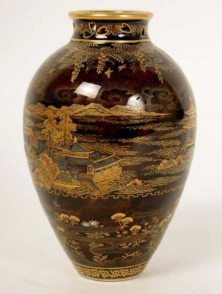 Rare Brown Ground Satsuma Vase Mark Of Kinkozan