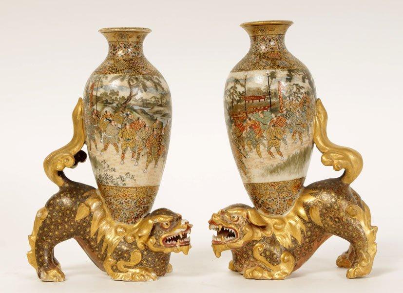 2 SATSUMA VASES W/ FOO DOGS SIGNED RANZAN C. 1870