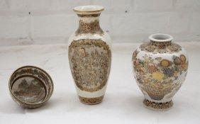 3 PIECES LATE 19TH C. SATSUMA VASES AND TEA BOWL