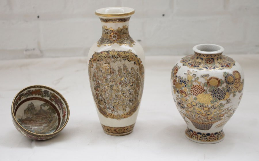 3 PIECES LATE 19TH C. SATSUMA VASES AND TEA BOWL