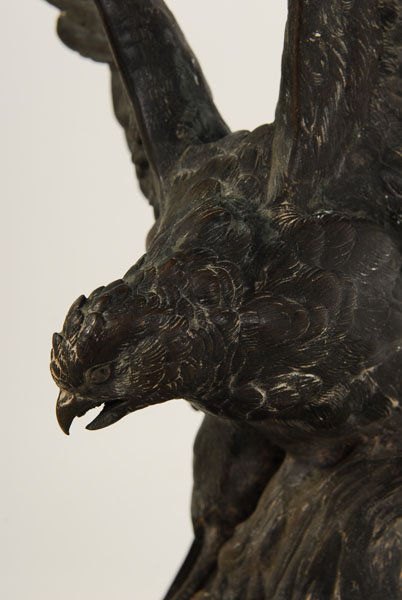 ALPHONSE A. ARSON SIGNED BRONZE SCULPTURE OF BIRD - 3