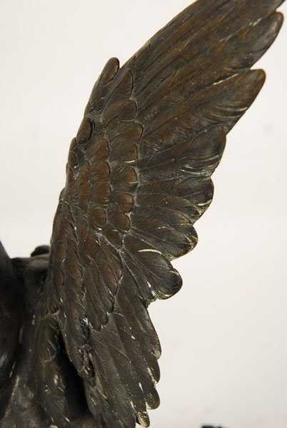 ALPHONSE A. ARSON SIGNED BRONZE SCULPTURE OF BIRD - 6