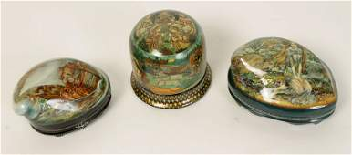 3 UNUSUAL RUSSIAN LACQUER BOXES 2 SHELL LIDS