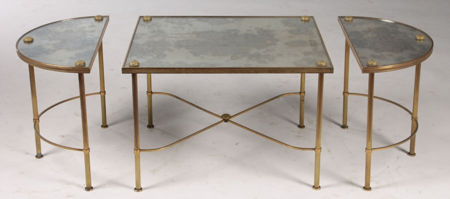3 PC BRONZE PLATEAU STYLE COFFEE TABLE