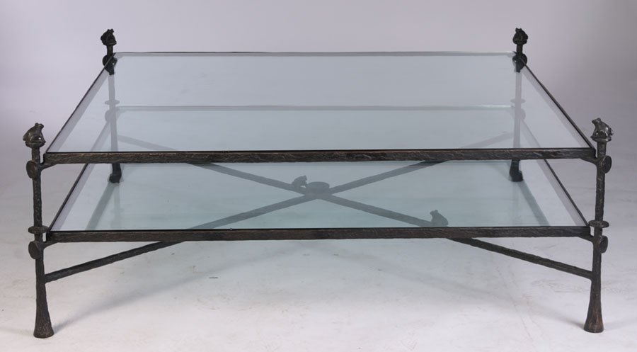 LARGE BRONZE 2TIER COFFEE TABLE STYLE GIACOMETTI