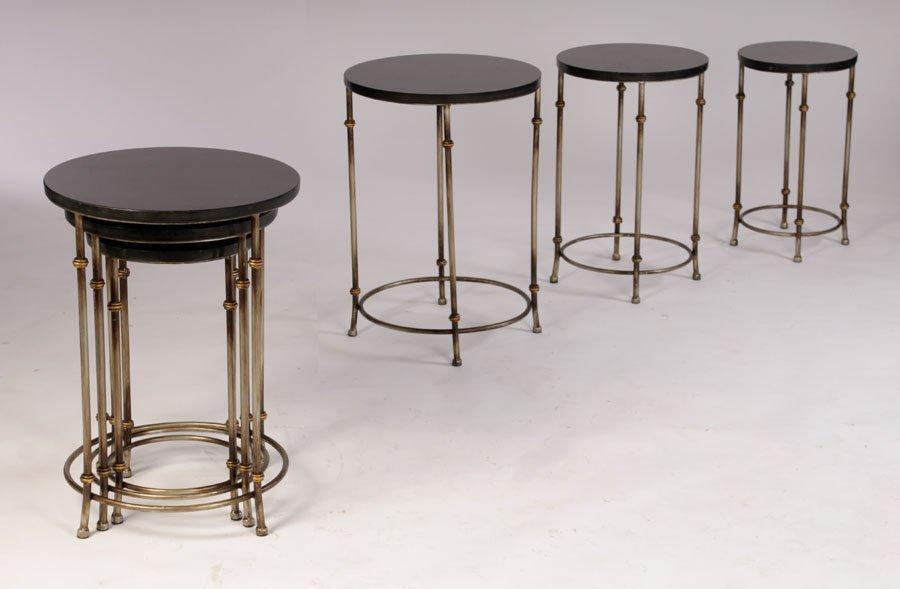 PAIR GILT METAL GRANITE TOP NESTING TABLE SETS
