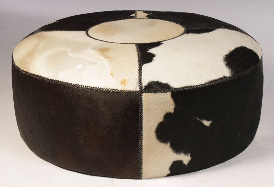 OVERSIZED COWHIDE LEATHER OTTOMAN