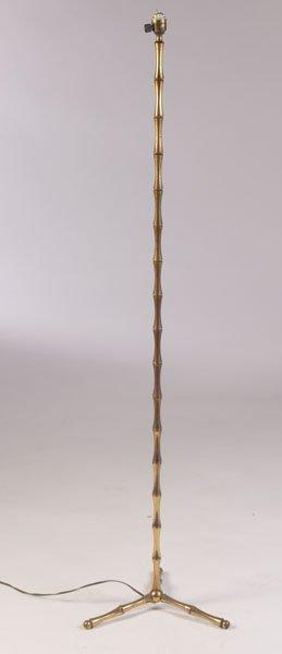 BRONZE FAUX BAMBOO VINTAGE TRIPOD FLOOR LAMP