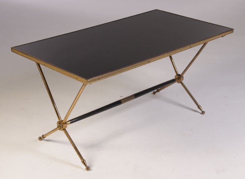 FRENCH BRONZE COFFEE TABLE GLASS TOP C.1940