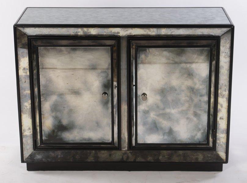 2 DOOR EBONIZED MIRRORED CABINET SMOKED MIRROR