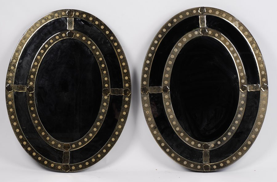 PAIR OVAL VENETIAN DECORATED MIRRORS