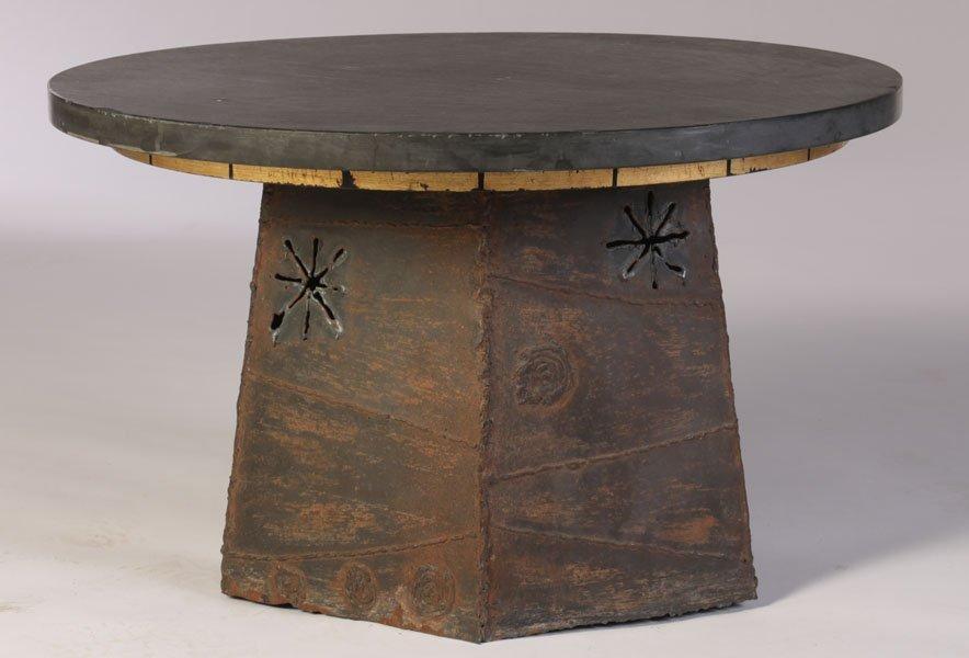 PAUL EVANS SIDE TABLE ROUND SLATE TOP