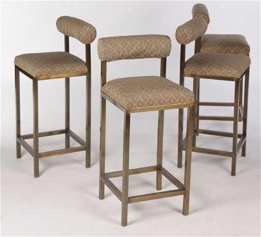 Set 4 Brass Bar Stools Upholstered Backs
