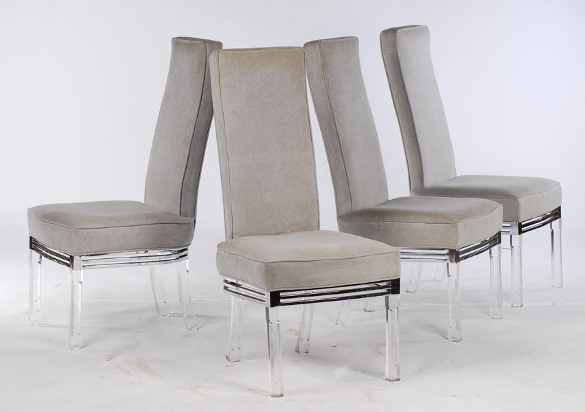 SET 4 MODERN LUCITE CHROME DINING CHAIRS