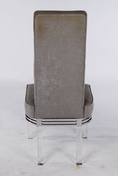 SET 4 MODERN LUCITE CHROME DINING CHAIRS - 5