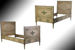 PR 19TH CENT ITALIAN PAINTED CARVED TWIN BEDS
