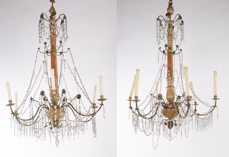 2 ANTIQUE GILTWOOD IRON CHANDELIERS 6 ARMS