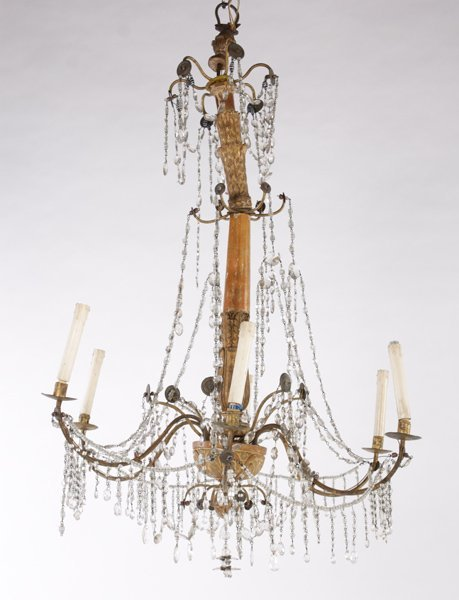 CONTINENTAL CARVED IRON CHANDELIER 6 ARMS