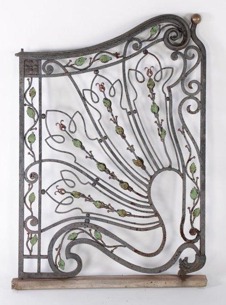 ART NOUVEAU WROUGHT IRON BRONZE GARDEN GATE 1920