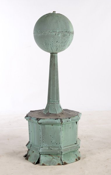 19TH C. COPPER ROOF FINIAL OCTAGONAL BASE