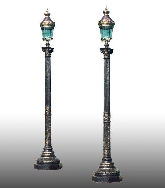 LG. PR PARIS STREET LAMPS CAST IRON COPPER BRONZE