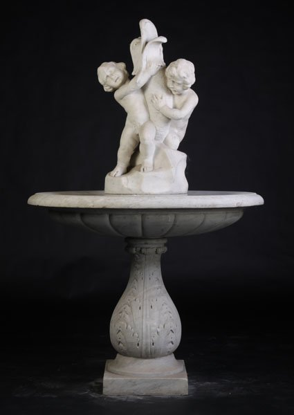 ITALIAN 3 PC CARVED MARBLE FIGURAL FOUNTAIN FISH