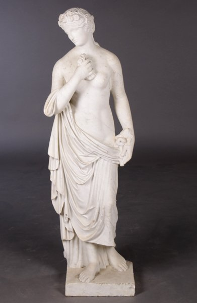 19TH C. CARVED MARBLE CLASSICAL FIGURE WOMAN