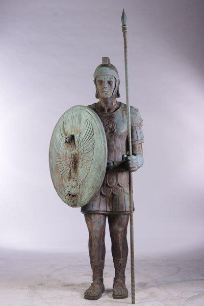 LIFESIZE SIGNED BRONZE FIGURE OF ROMAN SOLDIER