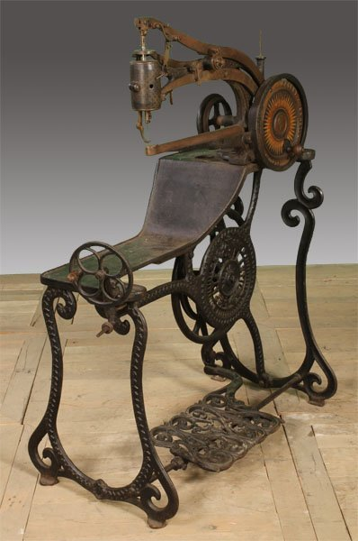 19TH CENT. CAST IRON SEWING MACHINE LABELED