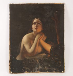 ANTIQUE OLD MASTER STYLE OIL OF SEMI NUDE WOMAN