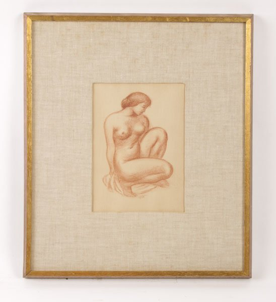 A PRINT OF A FEMALE NUDE IN CROUCHING POSITION