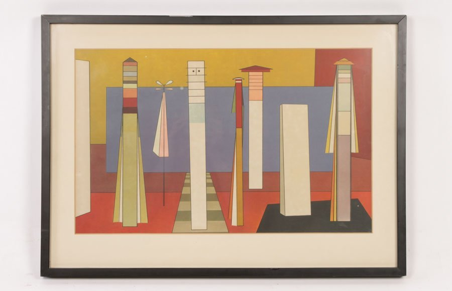 COLOR LITHOGRAPH OF ABSTRACT GEOMETRIC FIGURES