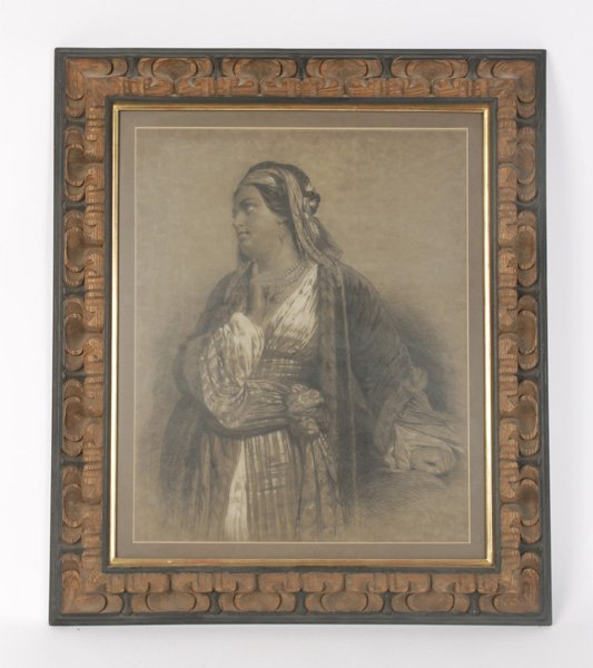 ETCHING OF ROBED WOMAN IN HAND CARVED WOOD FRAME