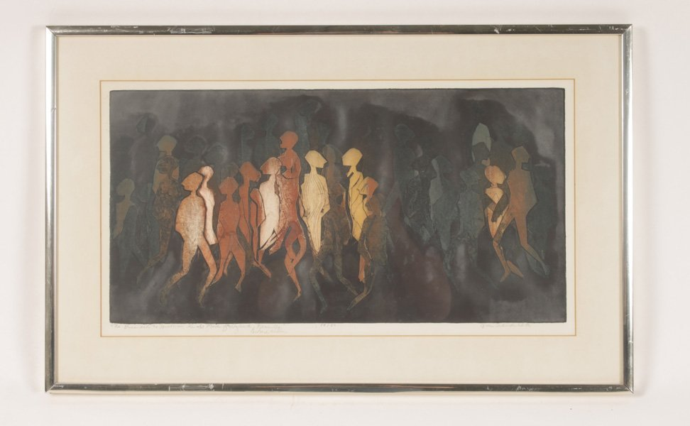 COLORED LITHOGRAPH OF ABSTRACT FIGURES SIGNED