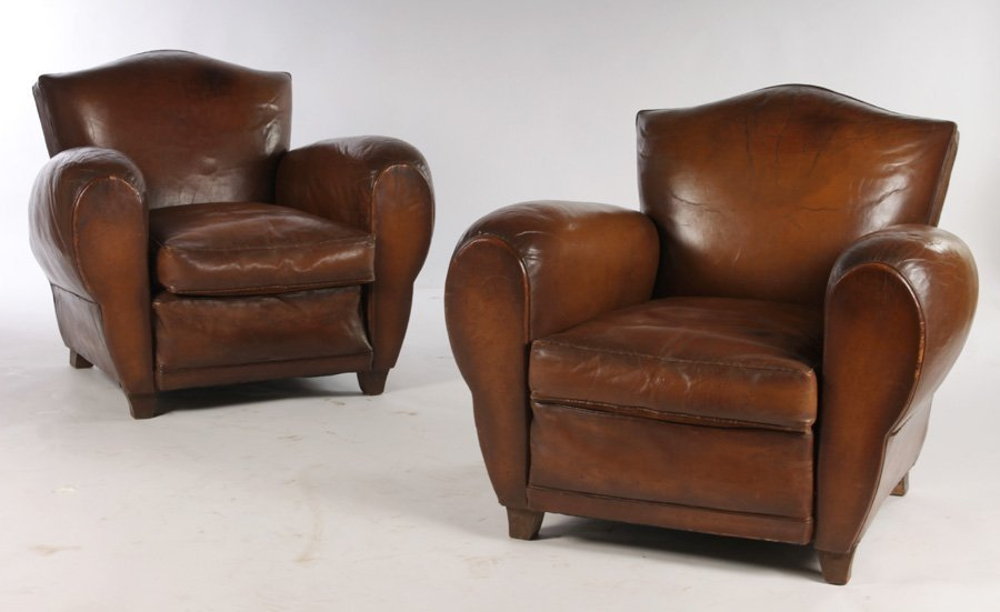 PAIR OF FRENCH LEATHER CLUB CHAIRS CIRCA 1940