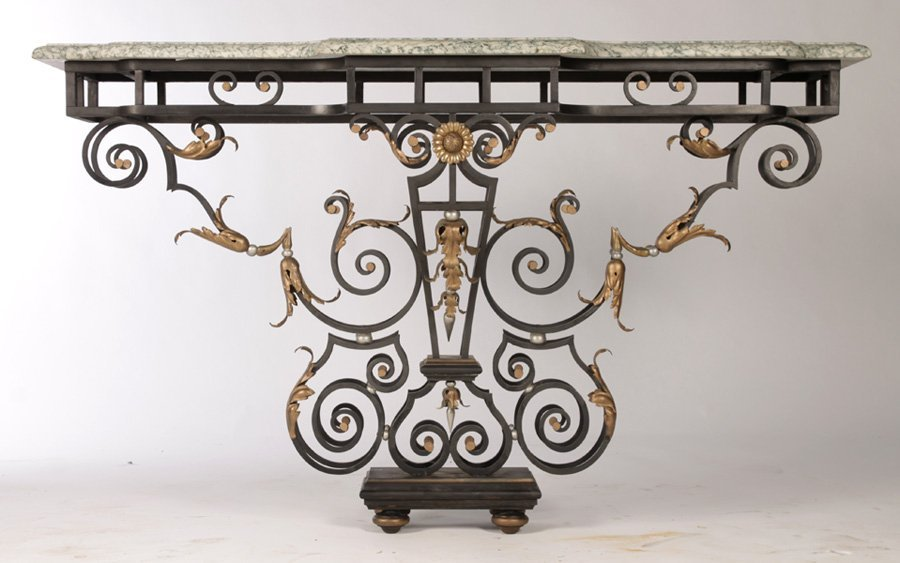 WROUGHT IRON CONSOLE TABLE G. POILLERAT