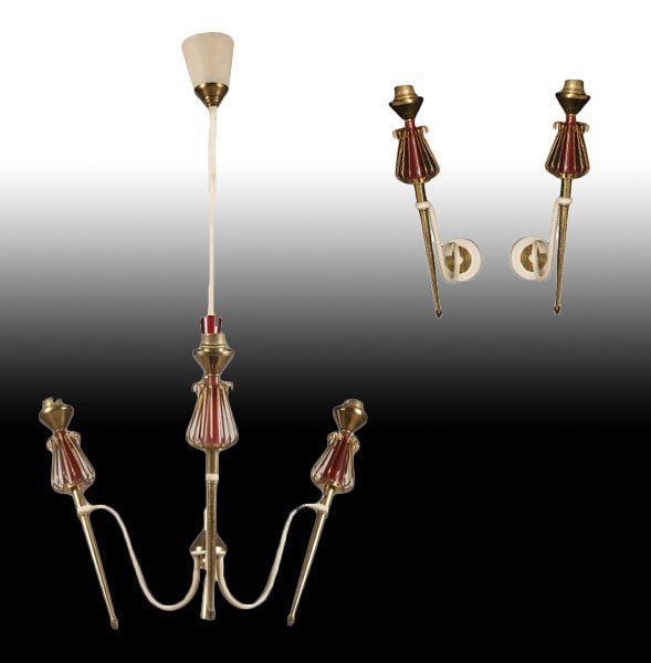 3 PC FRENCH LIGHTING LOT 3 ARM CHANDELIER SCONCES