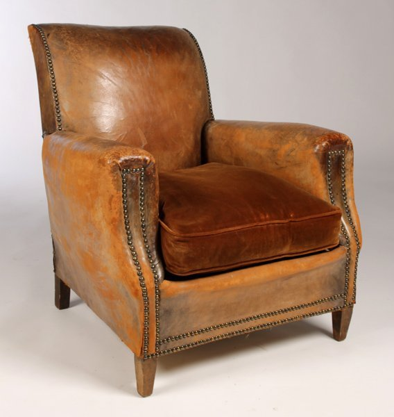 FRENCH LEATHER UPHOLSTERED CLUB CHAIR