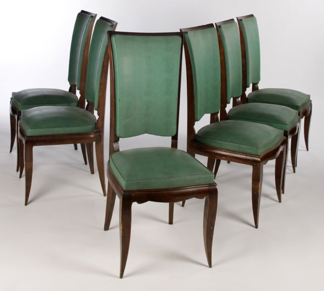 SET 6 FRENCH DINING CHAIRS FAUX SHAGREEN