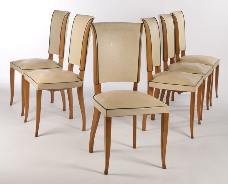 6 DINING CHAIRS UPHOLSTERED SEATS TAPERED LEG