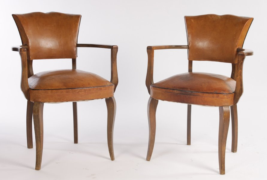 PR LEATHER ARM CHAIRS SHAPED BACKS OPEN ARMS