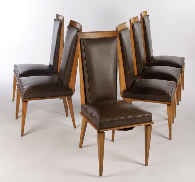 SET 6 DINING CHAIRS UPHOLSTERED BACKS