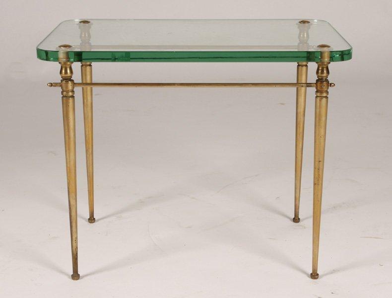 ITALIAN BRONZE SIDE TABLE GLASS TOP TAPERING LEGS