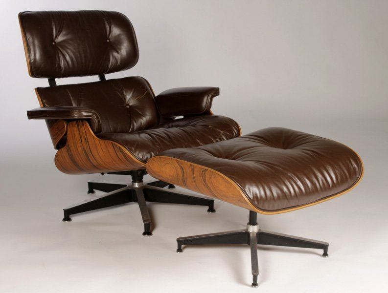 LABELED EAMES HERMAN MILLER 670/671 CHAIR OTTOMAN