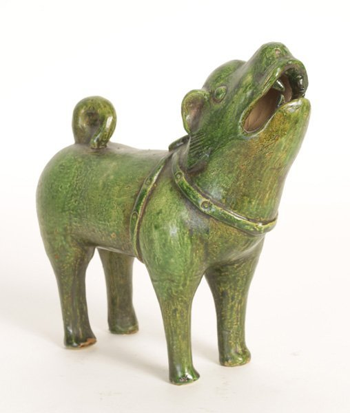 VINTAGE ASIAN CERAMIC DOG FIGURE CIRCA 1900